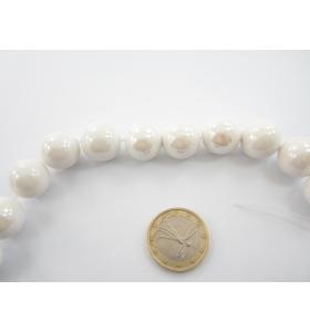 1 lotto di 8 perle di ceramica color bianco  metallizzato  diametro 16 mm.