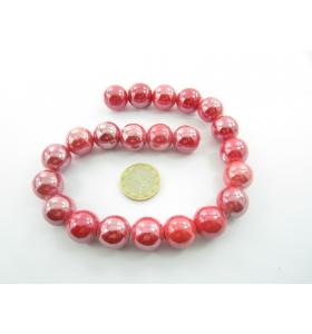1 lotto di 9 perle di ceramica colorrosso  metallizzato  diametro 16 mm.