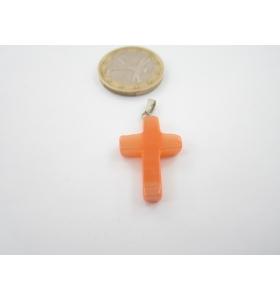 2 ciondoli croce madreperla arancione