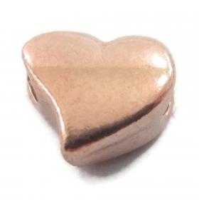 2 componenti cuore in argento 925 placcato oro rosa foro passante  di  1,8 mm misure 6 x 5 mm