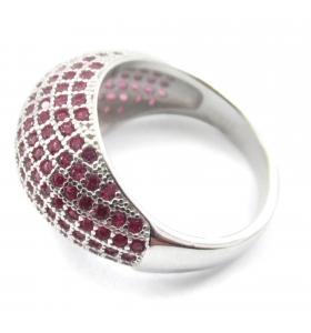 anello bombato zirconi rubino argento 925 misura 15