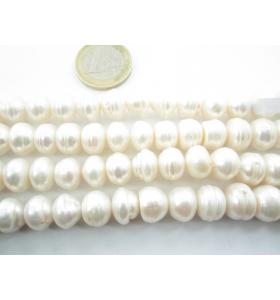 1 filo perle bianche grezze schiacciate  di  11x8 mm