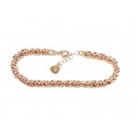 Bracciale anellini rolò intrecciati argento 925 placcato oro rosè -1pz