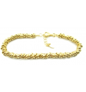 Bracciale anellini rolò intrecciati argento 925 placcato oro giallo  -1pz