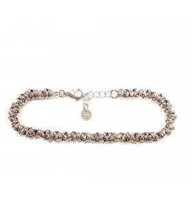 Bracciale anellini rolò intrecciati argento 925 rodiato  -1pz