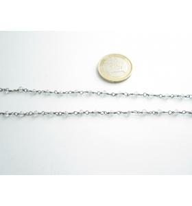 50 cm. catena concatenata colore brunito nero cristalli trasparenti 3,5x3 mm m2