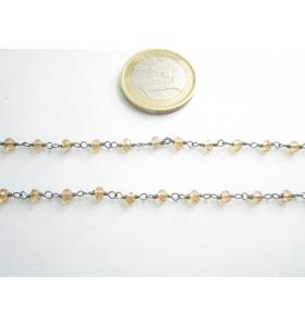 50 cm. catena concatenata colore brunito nero cristalli  color ambra trasparenti 3,5x3 mm m2