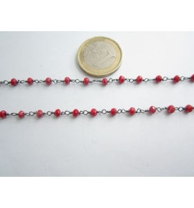 50 cm. catena concatenata colore brunito nero cristalli  color rosso rubino  3,5x3 mm