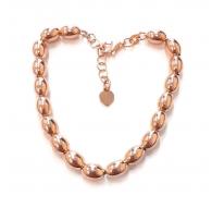 Bracciale perle ovali argento 925 placcato oro rosè -1pz