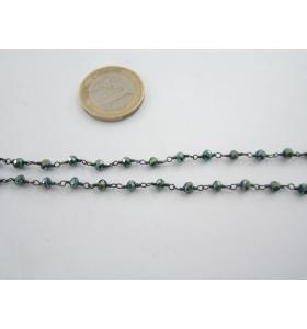 50 cm. catena concatenata colore brunito nero cristalli  color verdone iridescente3,5x3 mm