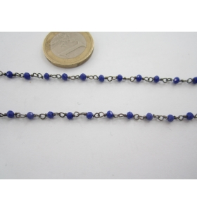 50 cm. catena concatenata colore brunito nero cristalli  color blu 3,5x3  mm