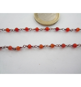 40 cm. catena concatenata colore brunito nero cristalli  color arancio trasparente 3,5x3  mm