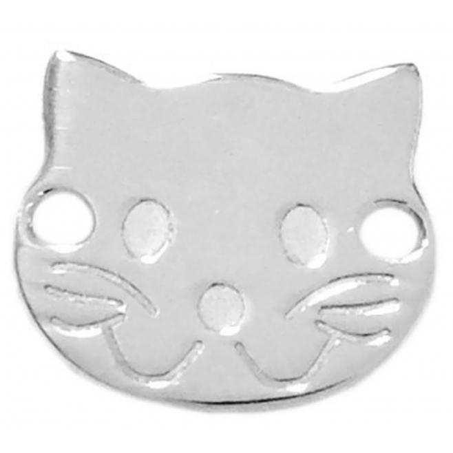 connettore faccia da gatto argento 925 10x9 mm 1 pz