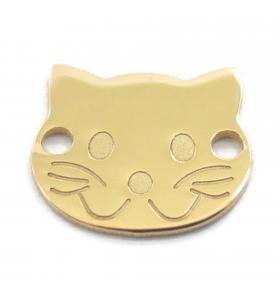 connettore faccia da gatto argento 925 placcato oro giallo 10x9 mm 1 pz