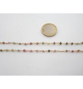 50 cm. di catena rosario tono dorato e piccole tormaline 3x2 mm. 3,5 mm.