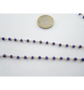 50 cm. di catena rosario tono dorato e cristalli blu elettrico 3,5 mm.