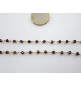 50 cm. di catena rosario tono dorato e cristalli color  viola 3,5 mm.