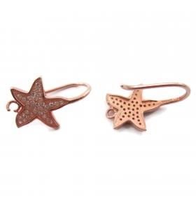 1 paio di monachelle stella marina zirconi argento 925 placcato oro rosè