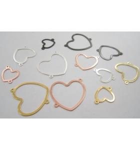 connettore cuore di 30x25 mm argento 925 placcato oro rosè 1 pz