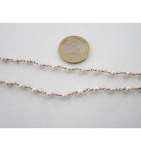 66 cm catena concatenata colore oro rosè e perle  4,5 mm.