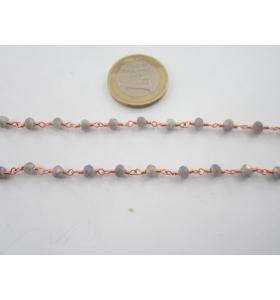 50 cm catena rosario color rosè concatenata cristalli  grandi grigio iridescente 4x3,5 mm.