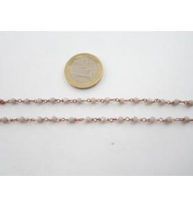 50 cm catena concatenata colore oro rosè cristalli grigi  mm. 3,5 x 3