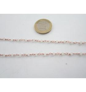 50 cm catena concatenata colore oro rosè cristalli bianco opalescente  mm. 3,5 x 3