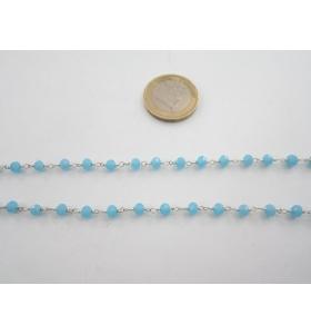 50 cm catenina rosario color argento concatenata cristalli grandi color azzurro  cielo  4x3,5 mm.