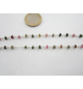 83 cm catenina rosario color argento con piccole tormaline 3,5x3 mm.