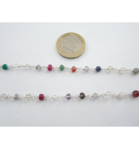 50 cm di catena rosario tono argento concatenata pietre mix color  4x3 mm.