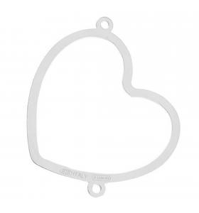 connettore cuore di 30x25 mm argento 925 1 pz