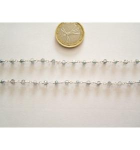 50 cm di catena rosario tono argento concatenata  cristalli mix color 3