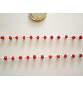 50 cm. di catena rosario tono argento concatenata  cristalli color rosso 3,5mm.