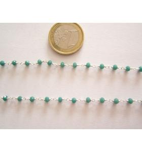50 cm catenina rosario color argento cristallizzato color verde giada 3,5 mm.
