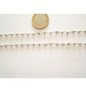90 cm catenina rosario color argento cristallizzato color argento 3,5 mm.
