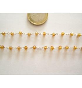 60 cm catenina rosario color argento cristallizzato color ambra 3,5 mm.