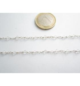 50 cm catenina rosario color argento cristallizzato  trasparente 3,5 mm.