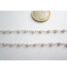 50 cm catenina rosario color argento cristallizzato color lilla chiarissimo 3,5 mm.