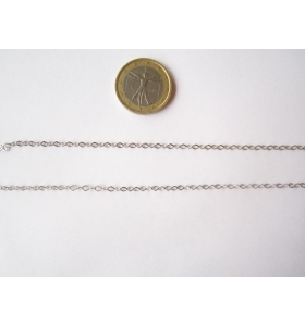 10 CM DI CATENA IN ARGENTO RODIATO ROMBINA PICCOLA 3X2,3 MM. ITALY