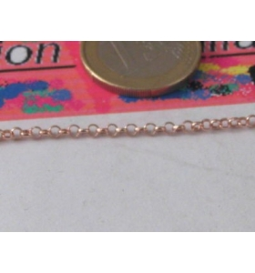 10 CM CATENA ROLÒ CLASSICA ARGENTO 925 ROSE' DI 1,3 X 0,4 MM MADE IN ITALY