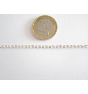 10 cm. di catena rolò ovale  in argento 925 Italy 3,5x1  mm.