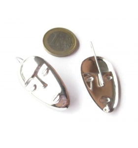 1 paio ganci orecchino maschera  argento 925 rodiati  42x20 mm.made in italy