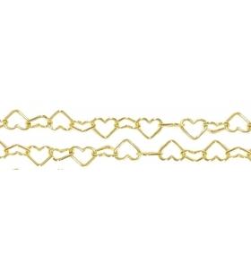 catena cuore 4x3 mm argento 925 placcato oro giallo -10 cm