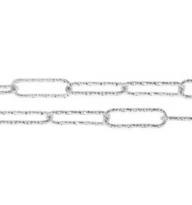 catena graffetta 10x3,5 mm argento 925 diamantata -10 cm