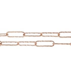 catena graffetta 10x3,5 mm argento 925 diamantata placcato oro rosa -10 cm