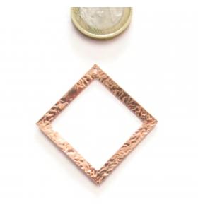 Base orecchino connettore  rombo un fori argento 925 rosè martellato 30x30 mm.