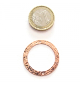 Base orecchino connettore  tondo due fori argento 925 rosè martellato 23 mm.