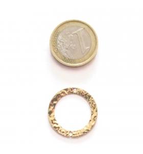 Base orecchino connettore  tondo due fori argento 925 dorato martellato 23 mm.
