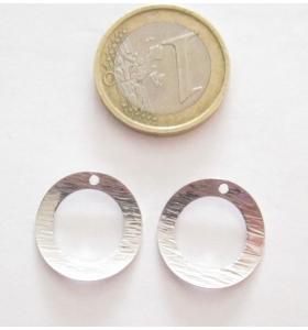 Basi orecchini connettori tondi un foro argento 925 rodiato zigrinato 18 mm.2 pz.