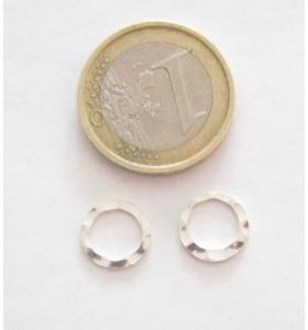 Basi orecchini connettori tondi argento 925 martellato diametro 10 mm. 2 pz.
